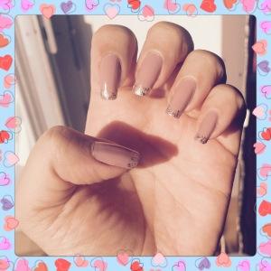 French glitter tip mani In the Sun Light